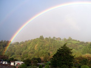 A Beautiful Rainbow In The Mountains