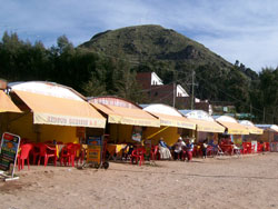 Fish Restaurants On The Shore Of The Titicaca Lake, Bolivia