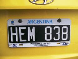 Argentina License Plate