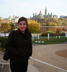 Kathia Caroline (and the Canadian Parliament in the background)