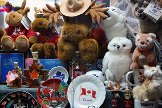 Canadian Souvenirs at a Busy Corner Store on Yonge Street (Toronto)