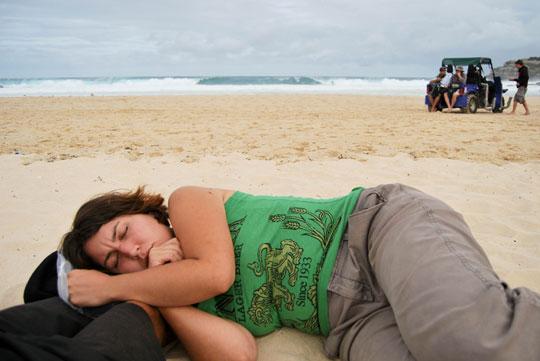 Asleep on Bondi Beach