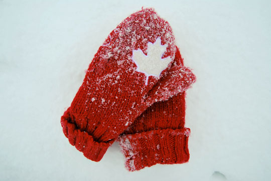 Red Gloves on Snow, Ottawa, February 2012