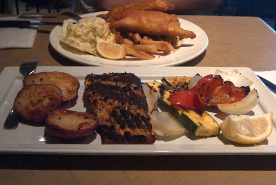 Grilled Salmon and Fish & Chips
