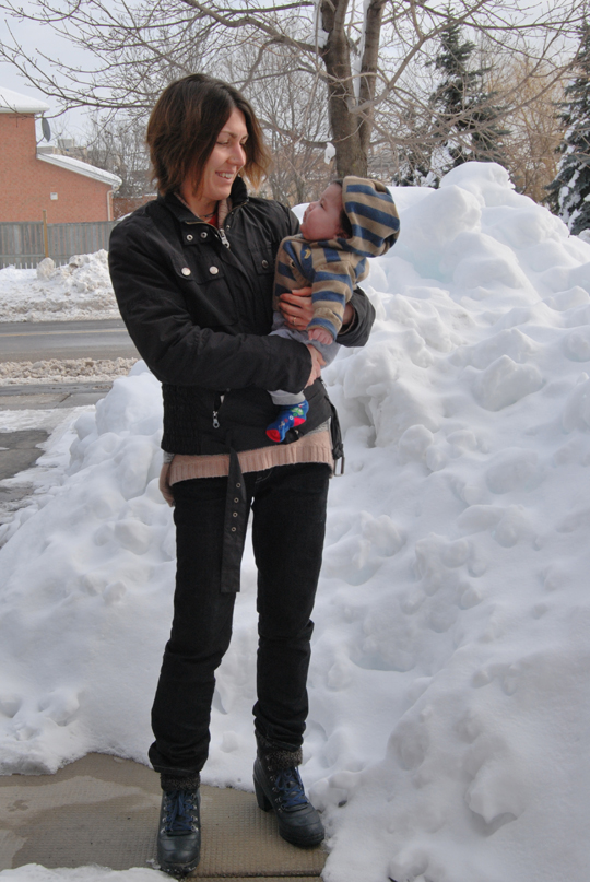 With Mark and the massive snow pile in front of our home