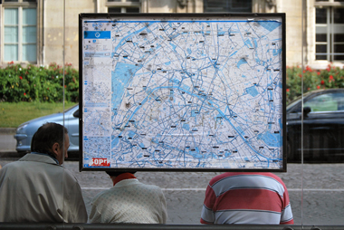 Tourists and City Map, Paris, 2010
