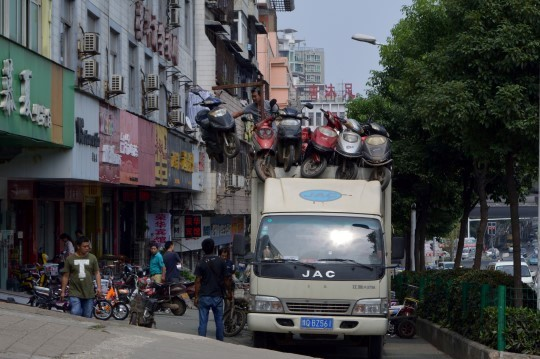 Loading Bikes on a Truck in Wuhan