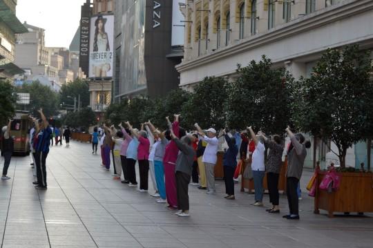 Stretching on Nanjing Lu