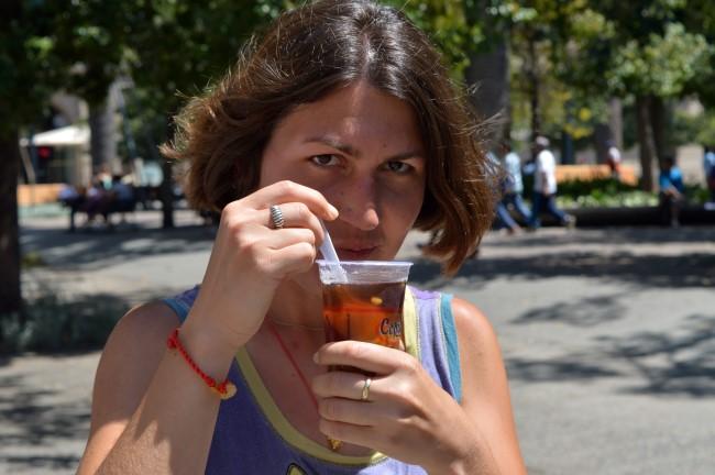 Trying Mote Con Huesillo in Santiago, Chile, January 2015