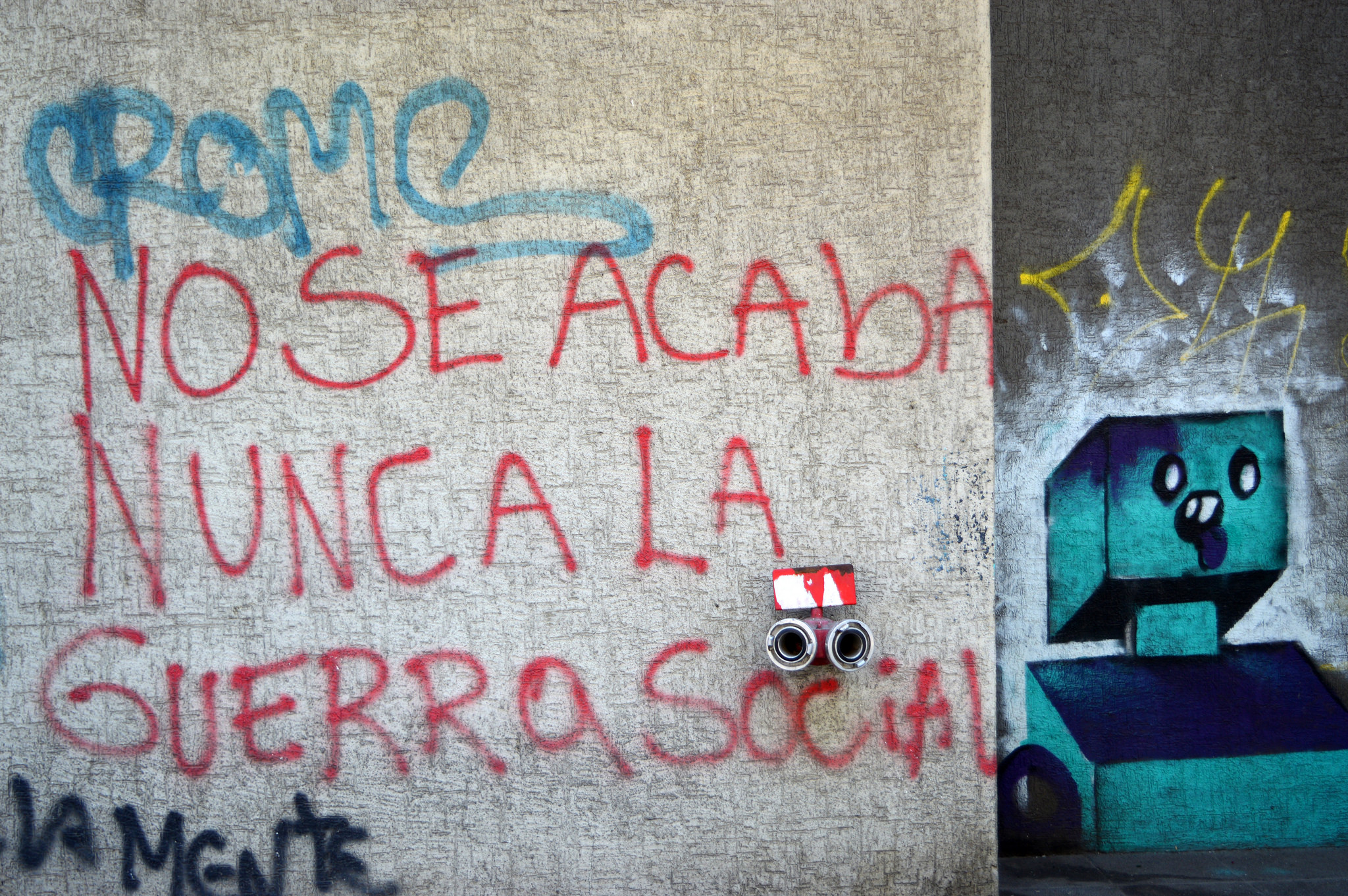 """Social War never ends"", Graffiti in Santiago, 2015"