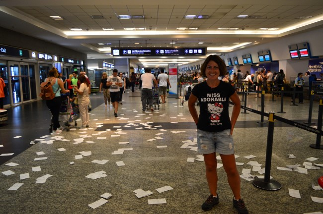 Arriving at the Aeroparque Metropolitano Jorge Newbery (in the middle of a protest)