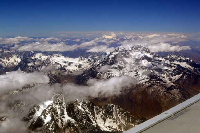 Above the Andes, crossing to Chile