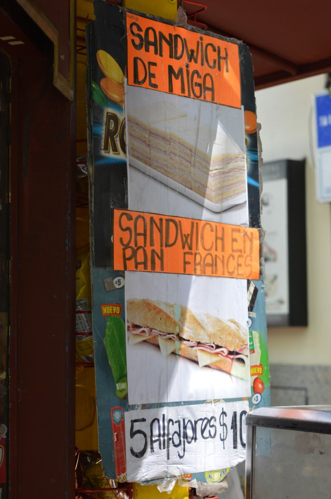 Sandwiches, sandwiches de miga and alfajores: local treats