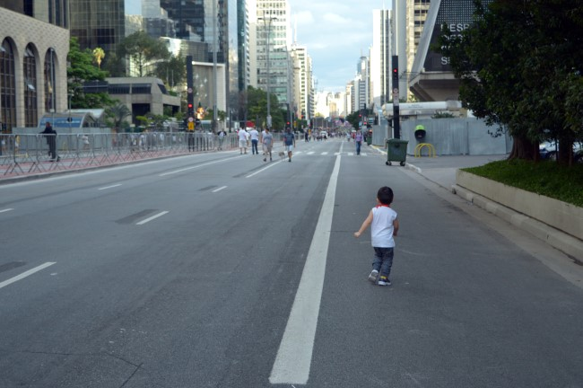On Paulista Avenue before the party