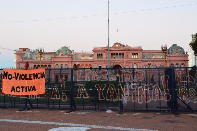 Casa Rosada, the office of the President of Argentina, and the Pirámide de Mayo