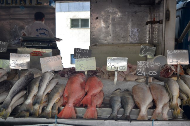 Fish in a street market in Copacabana