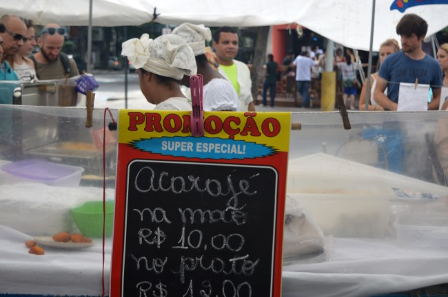 Regional food in a street market in Copacabana