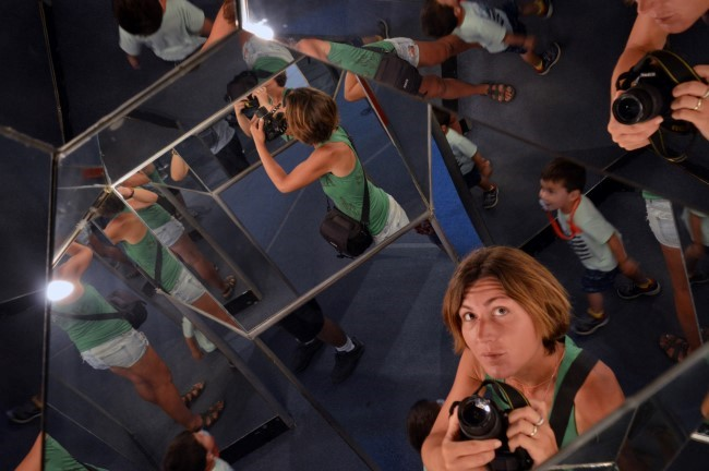 At the science museum in Santiago, crazy mirrors