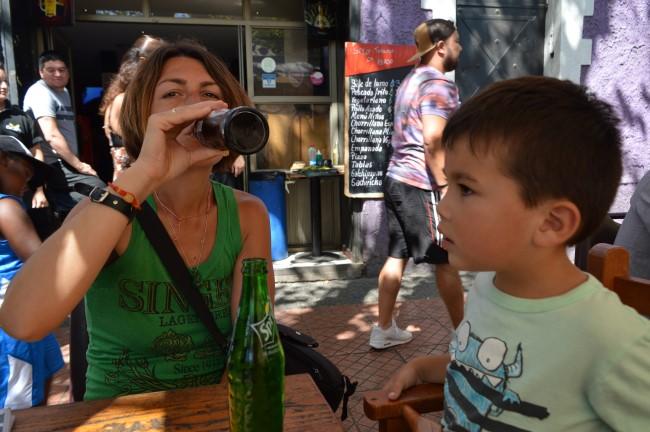 Mark enjoying drinking Sprite in a bar