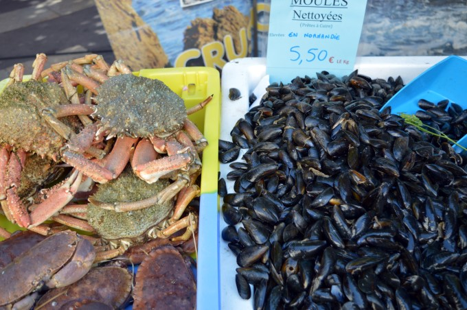 Mussels and sea spiders at the market