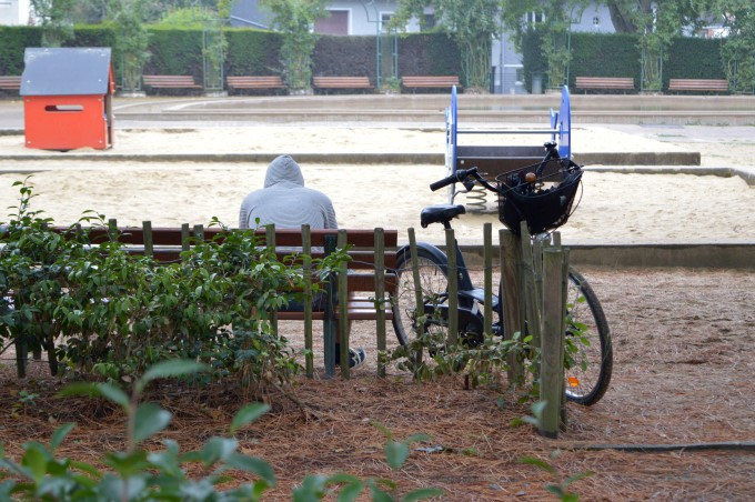 The guy at the park on a rainy day