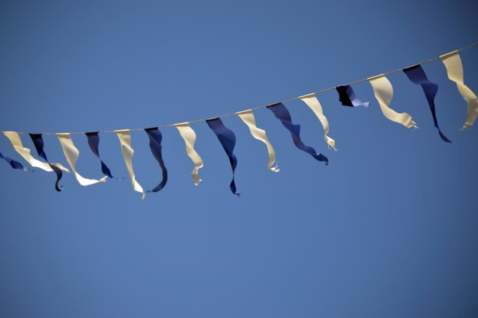Blue flags, blue sky