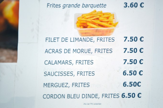 Pretty much everything served with fries, on a menu in saint-Michel