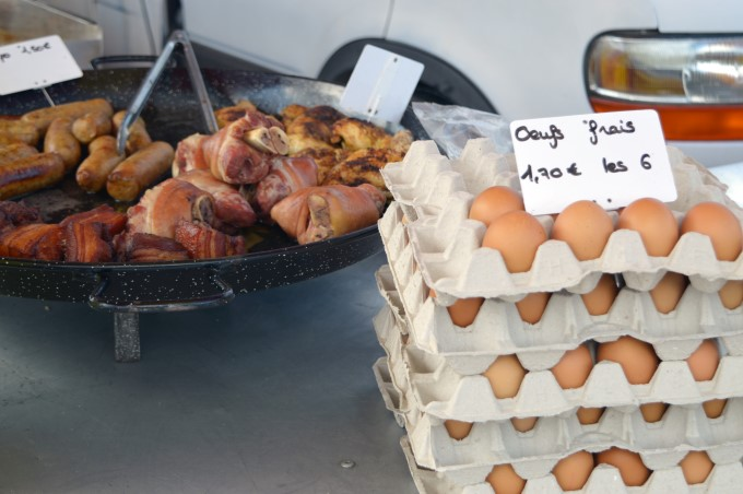 Eggs and pig products at Tharon's market
