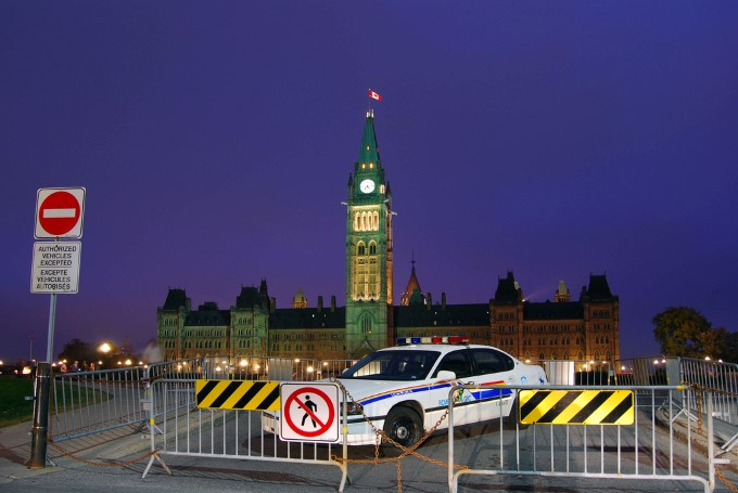 Police car in front of the Parliament buildings, Ottawa, 2011