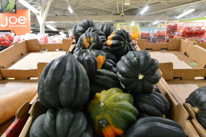 Seasonal squashes at the supermarket