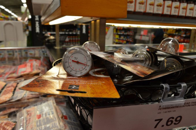 Meat thermometer at the supermarket