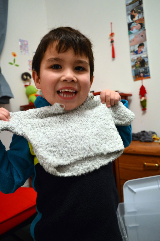 Sweater my sister knitted before he was born