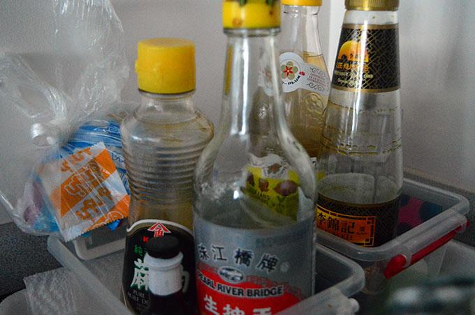 Rice vinegar, sesame oil, soy sauce