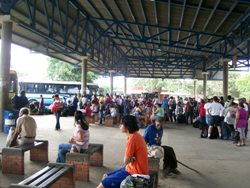 Bus Station in David -Queuing For The Bus