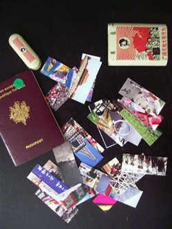 My passport, business cards, cigarette box...