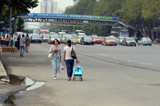 Pedestrians Vs. Traffic in Wuhan