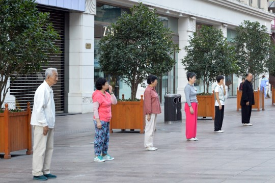 Stretching on Nanjing Lu