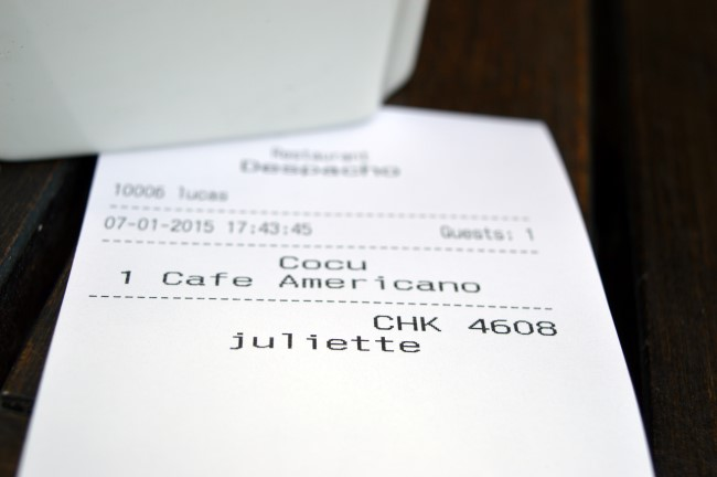 "I hope I'm not ""cocu""! (Receipt for a coffee in Palermo, ""cocu"" means ""cheated on"" in French)"