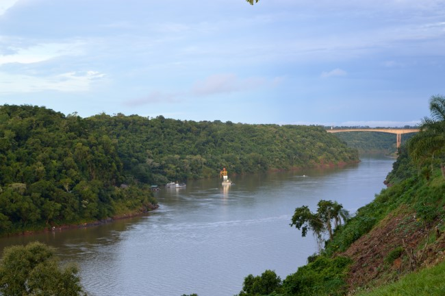 The Tres Fronteras (Paraguay and Brazil Right in Front)