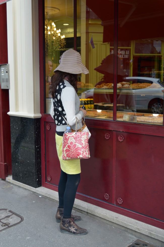 Tourist eying croissants