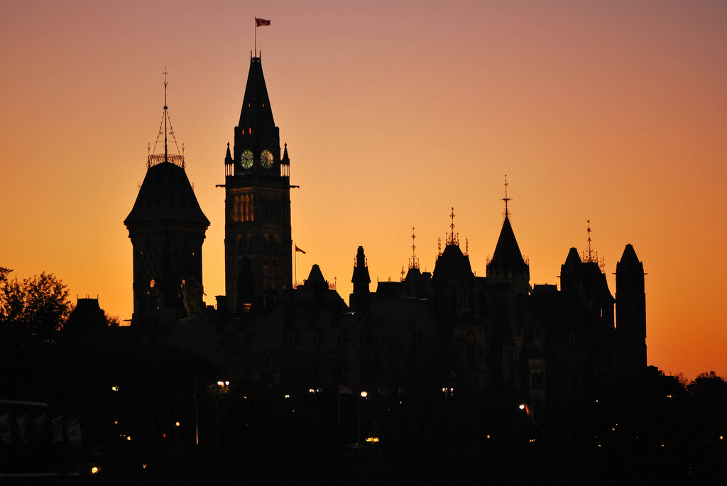 Sunset over the Parliament, Ottawa, 2011