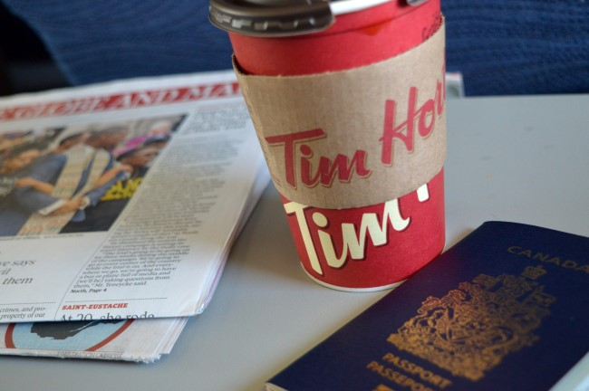 You know you're back in Canada when you read the Globe & Mail while drinking Tim Hortons coffee