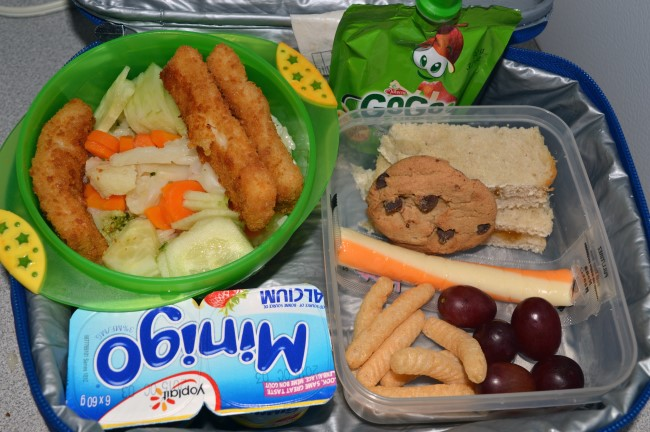 Jasmine rice, fish stick, carrots, cauliflower, broccoli and cucumber / Peach jam sandwich / Cheese / Cookie / Shrimp crackers / Grapes / Two yogurts / Apple sauce