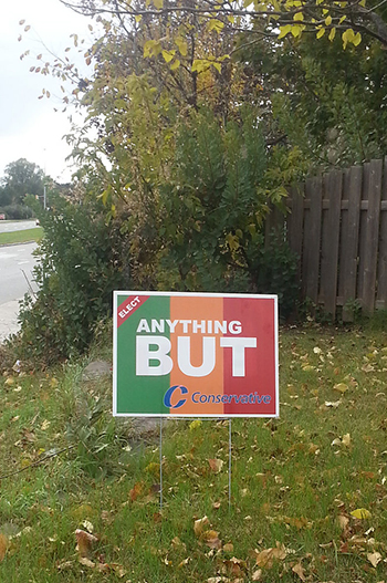 """Anything but Conservative"" Lawn Sign on Carling Road, Ottawa, October 2015"