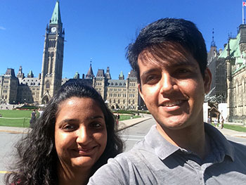 Gagan & Shikha on Parliament Hill in Ottawa