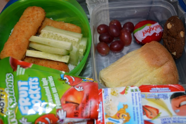 Steamed rice with cucumber and breaded fish, vanilla sponge cake, grapes, cheese, yogurt and apple sauce
