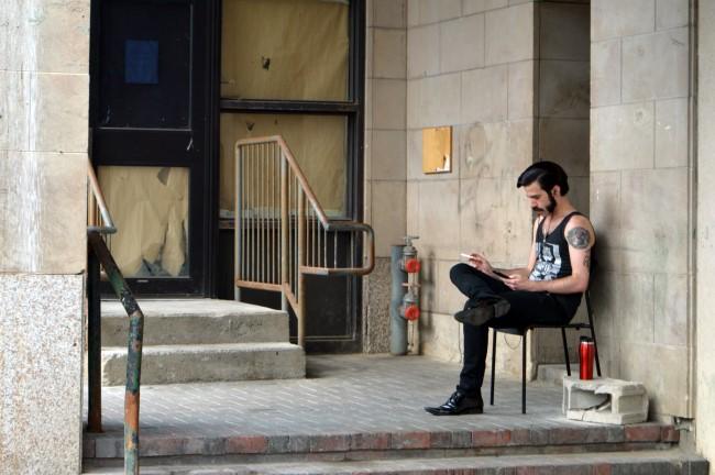Taking a break outside the Rideau Centre