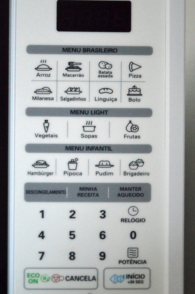 The microwave settings in Boa Viagem highlighting common Brazilian foods