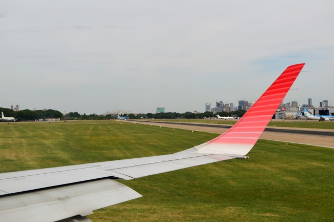 Landing in Aeroparque Jorge Newbery in Buenos Aires