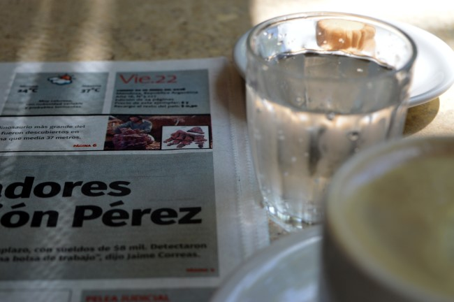 Coffee (and temperatures on the newspaper, 37C!)
